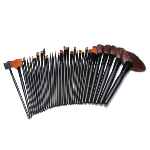 32Pcs Cosmetic Makeup Brushes Set Black Rollup Bag