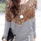 Leopard Long Sleeve Round Neck Blouse