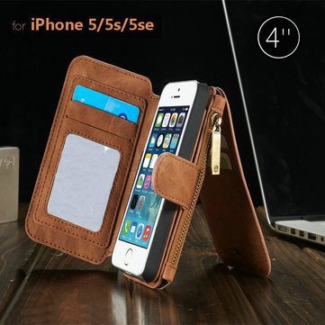 Magnetic Leather Multi Function Wallet Card Flip Case Cover For iPhone 5 5S Brown