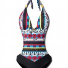 Halter Hollow Spliced Printed Bohemia Padded One-Piece Swimsuit Beachwear (XXL)
