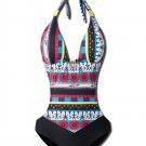 Halter Hollow Spliced Printed Bohemia Padded One-Piece Swimsuit Beachwear (XXL)
