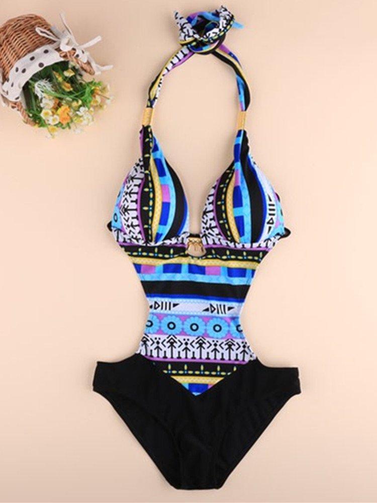 Halter Hollow Spliced Printed Bohemia Padded One-Piece BLUE Swimsuit Beachwear (Large)