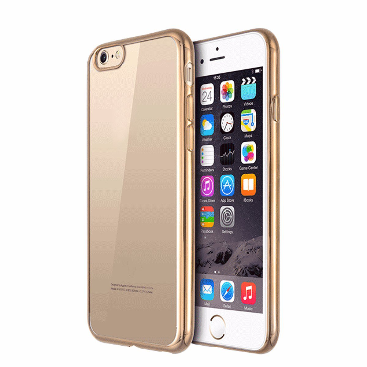 For iPhone 7 Plus Ultra Slim Clear Soft TPU Gel Shockproof Back Gold Case Cover Skin