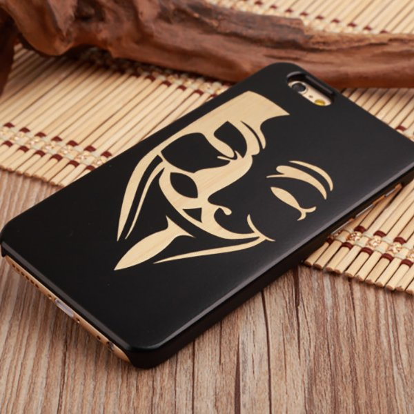 Natural Wood+PC Flower Mask Texture Shockproof Case For iPhone 7 Plus Color 5