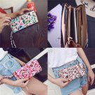 Women Functional Phone Leather Wallet Card Holder Brown Case for iPhone 5.5 Inches Smartphone