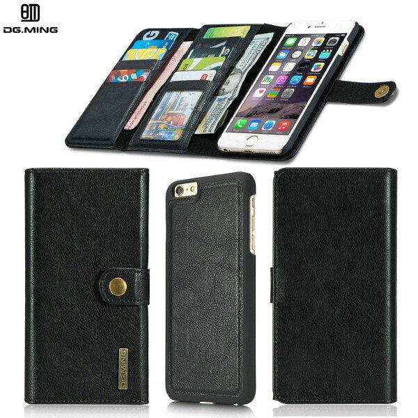 Magnetic Detachable Card Slots Leather Wallet Stand Black Case Cover For iPhone 5.5 - 6/6s Plus