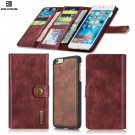 Magnetic Detachable Card Slots Leather Wallet Stand RED Case Cover For iPhone 5.5 - 6/6s Plus