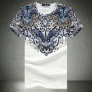 Ethnic Printing Slim Fit Plus Size O-neck Men's Fashion Summer Casual Short Sleeve T-shirt- Large