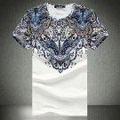 Ethnic Printing Slim Fit Plus Size O-neck Men's Fashion Summer Casual Short Sleeve T-shirt- 2XL