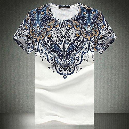 Ethnic Printing Slim Fit Plus Size O-neck Men's Fashion Summer Casual Short Sleeve T-shirt- 3XL