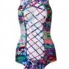 Sexy Strappy Snakeskin Print Hollow Out Bandage Monokini Swimsuit One-PieceMedium