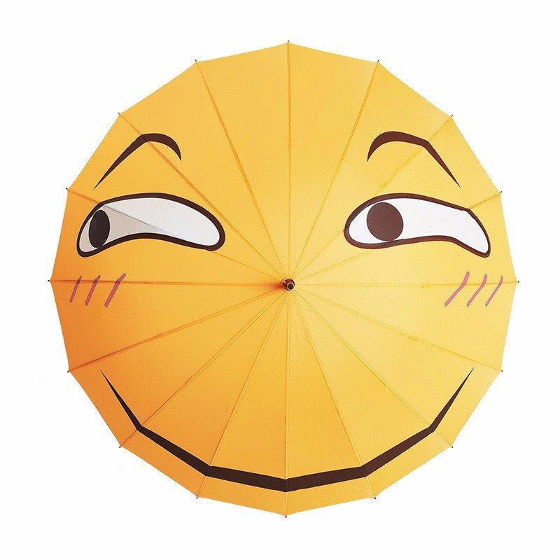 Creative Folding Funny Emoji Expression Face Rainy Sunny Long Umbrella