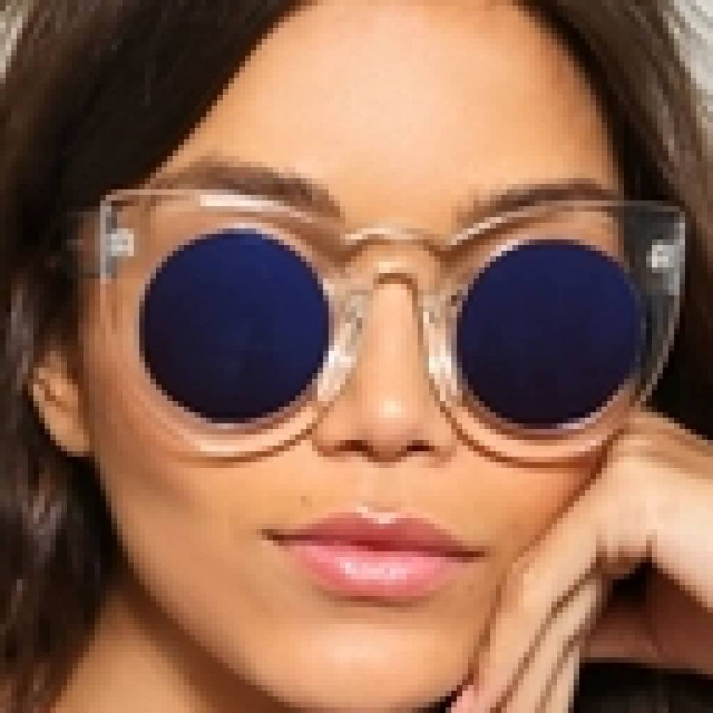 Cat Eye Clear Blue Lenses UV Oversize Frame Sunglasses