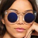 Cat Eye Clear Blue Lenses UV Oversize Frame Sunglasses