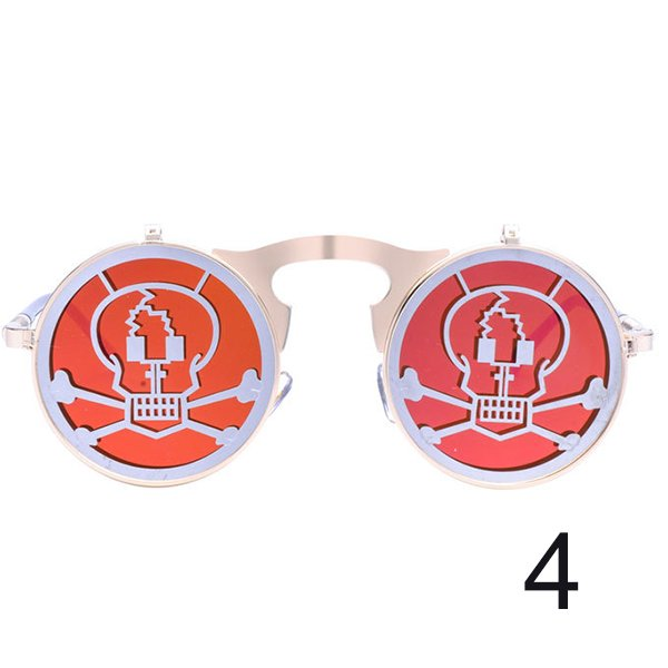 Steam Punk Gothic Vintage Flip Up Round Goggles Skeleton Personality SunGlasses For Men Women Unisex