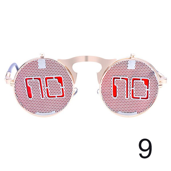 #9 Steam Punk Gothic Vintage Flip Up Round Personality Sunglasses For Men Women Unisex