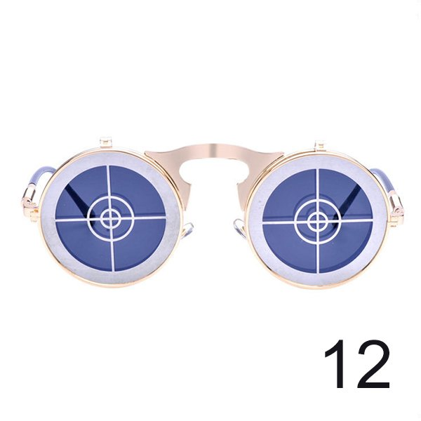 #12 Steam Punk Gothic Vintage Flip Up Round Personality Target Sunglasses For Men Women Unisex