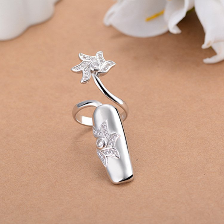 Open-end Silver Rhinestone Flower Nail Middle Finger Ring
