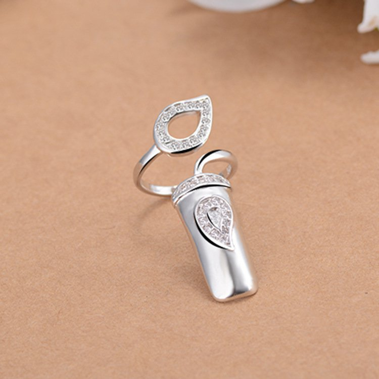 Open-end Silver Rhinestone Flower Nail Ring Finger Ring