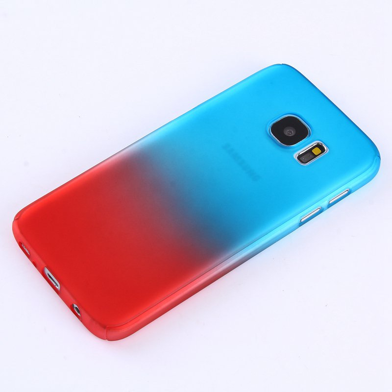 Blue/Red Gradient Color 360° Full Protection Cover Case With Tempered Glass for Samsung Galaxy S7