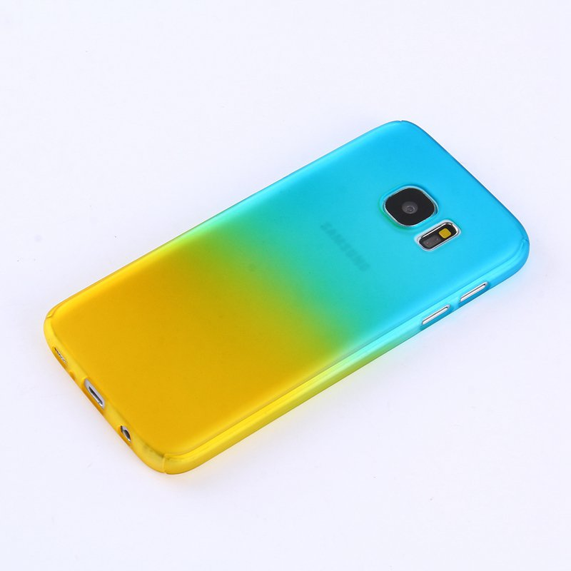 Blue/Yellow Gradient Color 360° Full Protection Cover Case With Tempered Glass for Samsung Galaxy 7