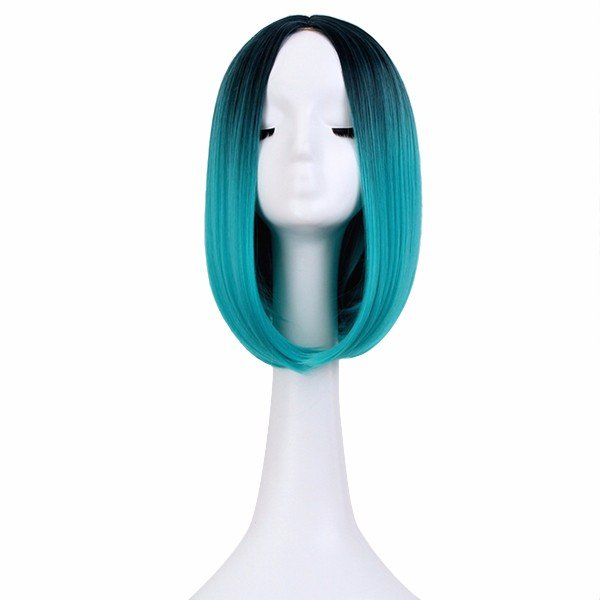 """14"""" Heat Resistant Synthetic Hair Ombre Medium Long Straight Silk Lace Wig: Blue/Green"""