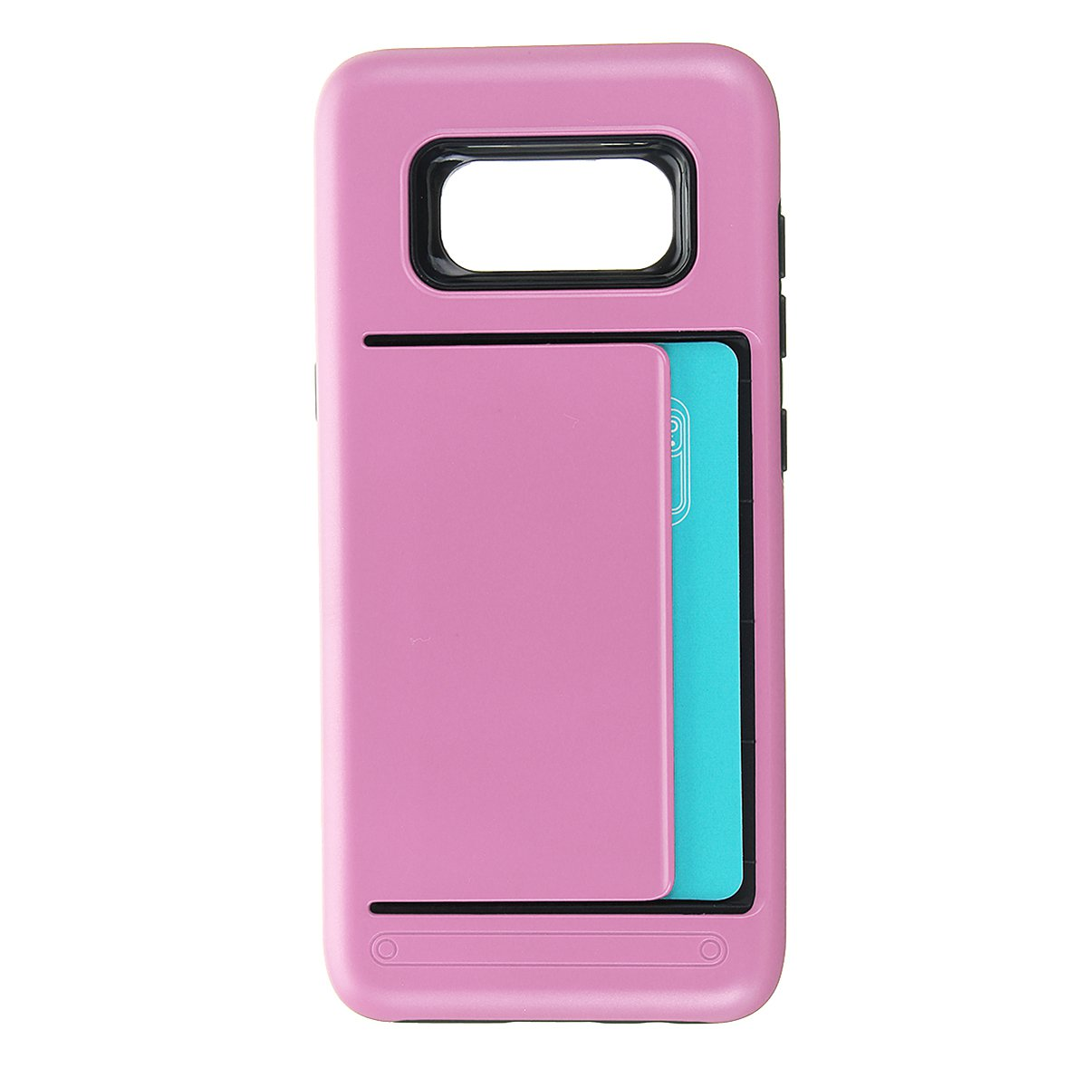 TPU+PC Hybrid Card-slots Shockproof Armor Cover Case For Samsung Galaxy S8 Plus:Pink