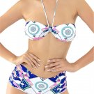 Sexy Halter Bowknot Printing Swimsuit Backless Wireless Padding Bandage Neck Bikini:Large
