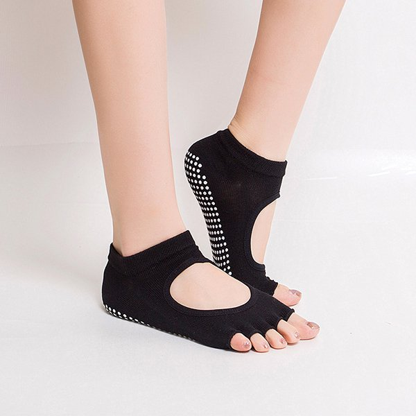Women Half Cotton Anti-Slip Peep Toe Non-Slip Half Toe Ankle BLACK Yoga Socks