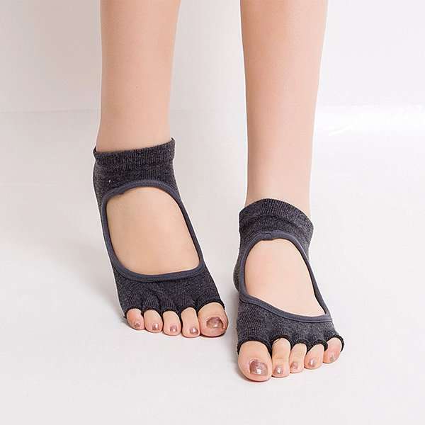 Women Half Cotton Anti-Slip Peep Toe Non-Slip Half Toe Ankle Yoga Socks:Dark Grey