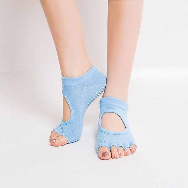 Women Half Cotton Anti-Slip Peep Toe Non-Slip Half Toe Ankle Yoga Socks:Light Blue