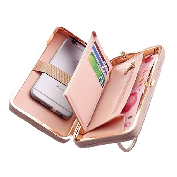 Universal 5.5 inch Butterfly Knot Functional Phone Wallet Case Cover for Xiaomi Samsung Huawei Pink