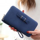 Universal 5.5 inch Butterfly Knot Functional Phone Wallet Case Cover for Samsung iPhone Dark Blue
