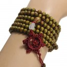 Unisex 6mm Multilayer Sandalwood Buddha Prayer Beads Bracelet Necklace Green