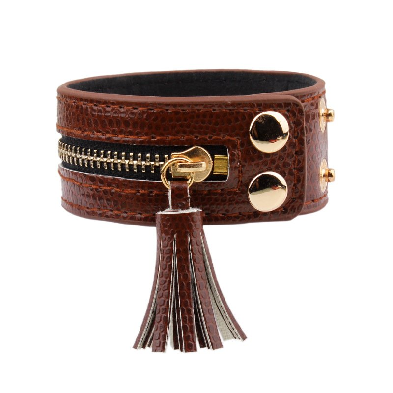 Women Leather Zipper Wide Tassel Brown Bracelet