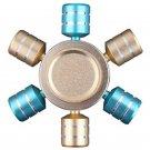 Hexagonal Mixed Color Rotating Fidget Hand Spinner Gold/Blue