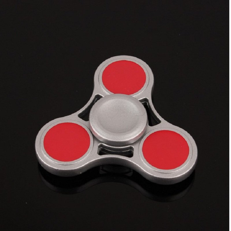 Zinc Alloy Rotating Hand Fidget Spinner Silver /Red