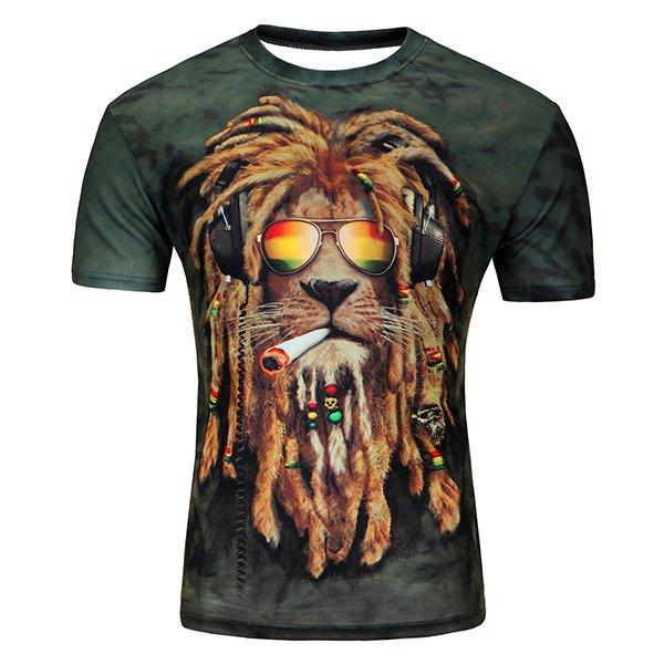 Lion Head 3D Printed Men's Short Sleeve T-shirt Large