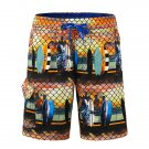 Mens Printing Casual Drawstring Swim Beach Shorts Khaki Medium