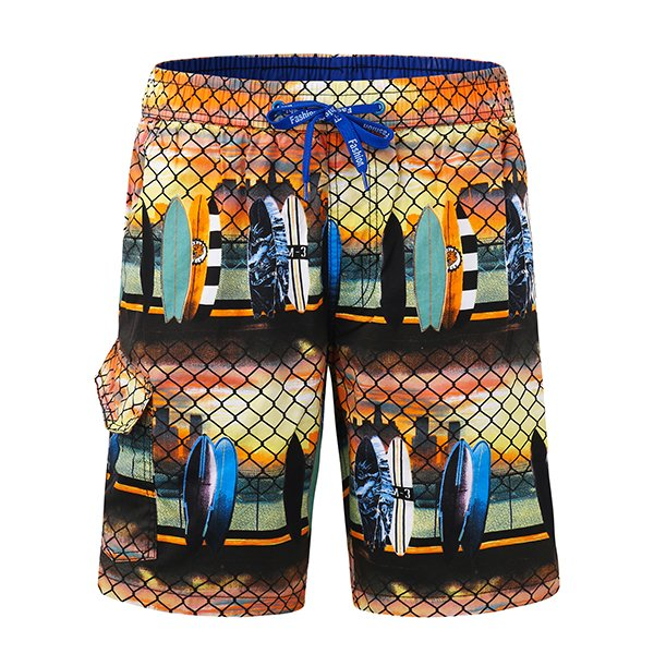 Mens Printing Casual Drawstring Swim Beach Shorts Khaki Large