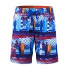 Mens Printing Casual Drawstring Swim Beach Shorts Blue XL