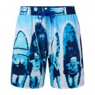 Mens Printing Casual Drawstring Loose Beach Shorts Blue Medium