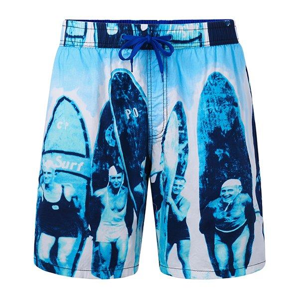 Mens Printing Casual Drawstring Loose Beach Shorts Blue Large
