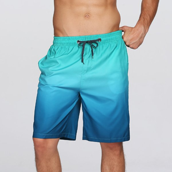 Men Surf Swim Gradient Color Printing Quick-drying Loose Beach Shorts Blue Small