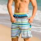 Men Surf Swim Gradient Color Printing Quick-drying Loose Beach Shorts Stripes Medium
