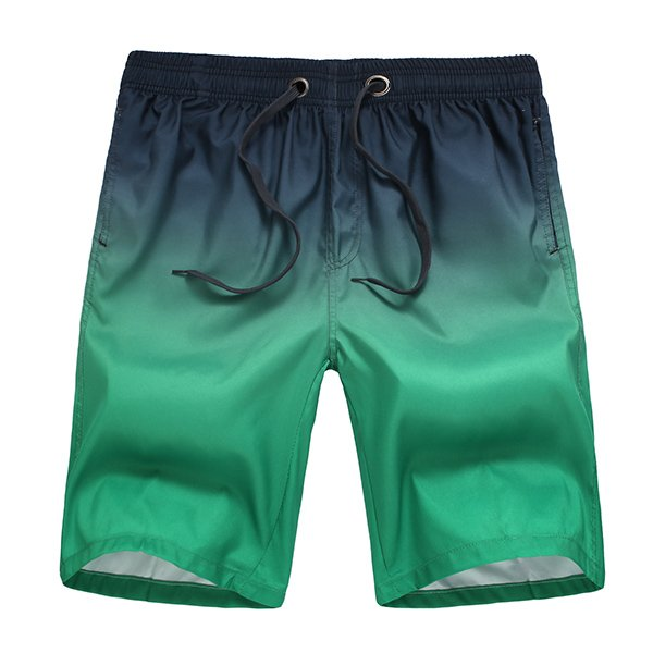 Men Surf Swim Gradient Color Printing Quick-drying Loose Beach Shorts Green Large