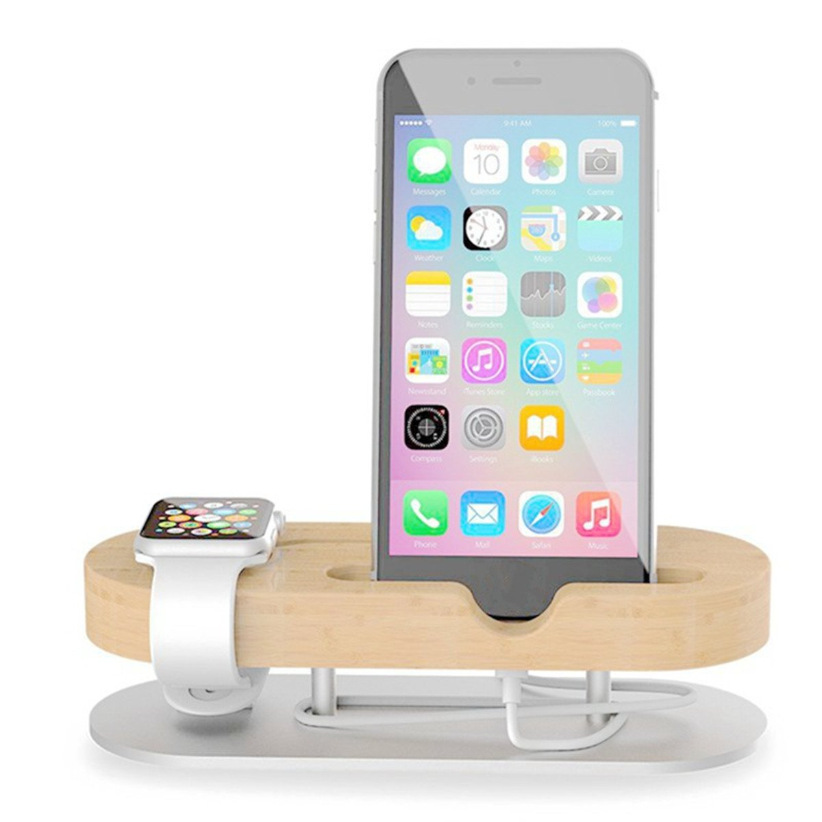 Universal Aluminum Bamboo Wood Charging Station Dock Holder For iPhone Apple Watch