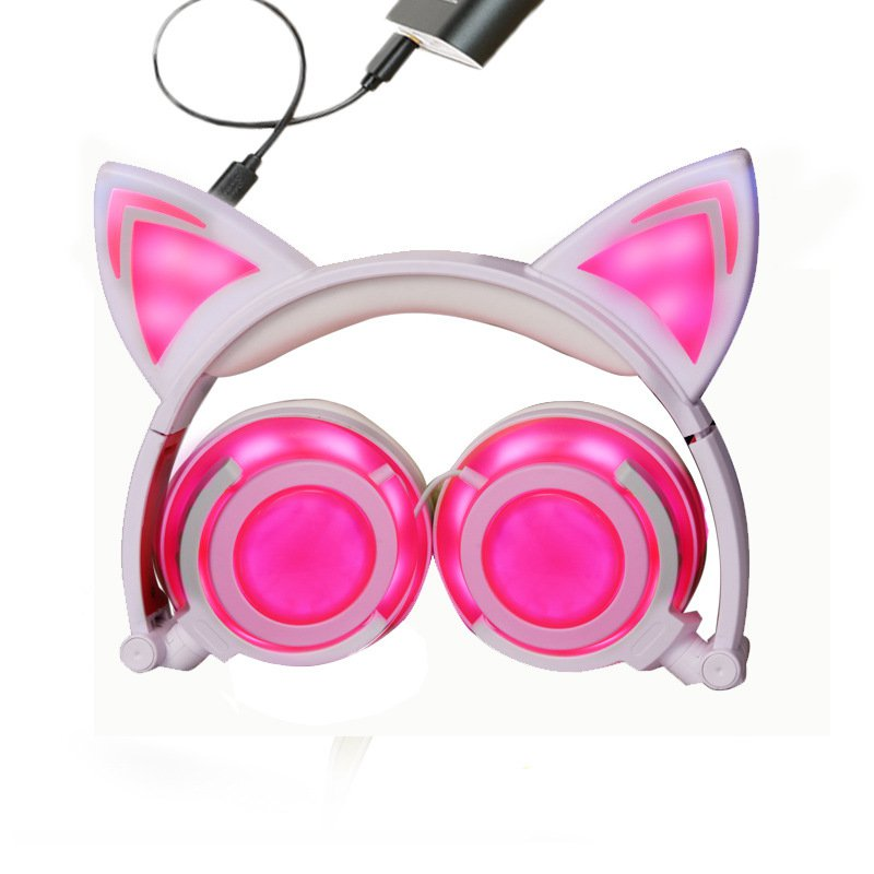 Foldable LED Flashing Cat Ear Headset Headphones