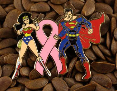 Pink Ribbon Pins Wonder Woman And Superman Pin