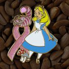 Pink Ribbon Pins Alice & Cheshire Cat Pin